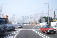 Hong Kong Chiny, Jan, - 3,2011: Taksówki wtykać w ruchu drogowym podczas eveni Obrazy Royalty Free