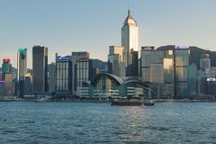 HONG KONG CHINY, Listopad, - 02, 2017 Linia horyzontu Hong Kong przy su obraz stock