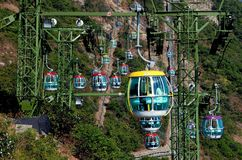 Hong Kong, Chiny: Oceanów Parkowi wagony kolei linowej Fotografia Stock