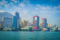 HONG KONG CHINY, STYCZEŃ, - 26, 2017: Piękny widok Hong Kong w horizont z, drapacze chmur i nowożytni budynki Obraz Royalty Free