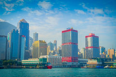 HONG KONG CHINY, STYCZEŃ, - 26, 2017: Piękny widok Hong Kong w horizont z, drapacze chmur i nowożytny Obraz Royalty Free