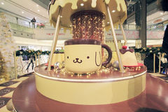 Hong Kong Christmas Pom Pom Purin decoration in Metro City Plaza Stock Images