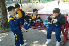 Hong Kong, Cina: attività di turismo della molla degli studenti Immagine Stock Libera da Diritti