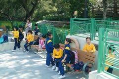 Hong Kong, Cina: attività di turismo della molla degli studenti Immagine Stock