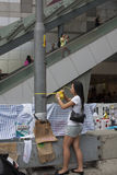 Hong Kong, Cina ottobre 4, 2014, occupano la centrale, strade del blocchetto dei protestatari nel centro direzionale di Hong Kong Fotografie Stock