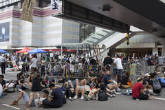 Hong Kong, Cina ottobre 4, 2014, occupano la centrale, strade del blocchetto dei protestatari nel centro direzionale di Hong Kong Immagini Stock Libere da Diritti