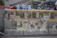 Hong Kong, Cina ottobre 4, 2014, occupano la centrale, strade del blocchetto dei protestatari nel centro direzionale di Hong Kong Immagine Stock Libera da Diritti