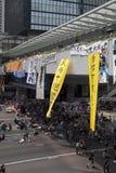 Hong Kong, Cina ottobre 4, 2014, occupano la centrale, strade del blocchetto dei protestatari nel centro direzionale di Hong Kong Fotografie Stock Libere da Diritti