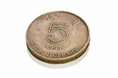 Hong-Kong cinco dólares, con la sombra, aislada Foto de archivo