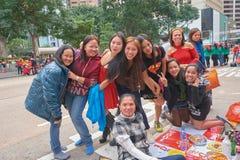 Hong Kong. CIRCA DECEMBER, 2015: people in downtown Stock Photos