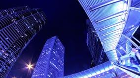 Hong Kong Cit Night Timelapse. Tätt zooma ut sköt. lager videofilmer