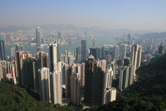 Hong Kong City. View of Hong Kong, Hong Kong Harbour and, in the background, Kowloon, taken from The Peak Royalty Free Stock Photo