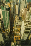 Hong Kong city. Aerial view of Hong Kong city looking down on skyscrapers and streets, China Stock Photography