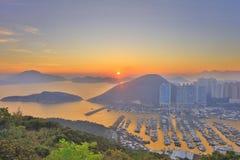 Hong Kong City Aberdeen områdessolnedgång Fotografering för Bildbyråer