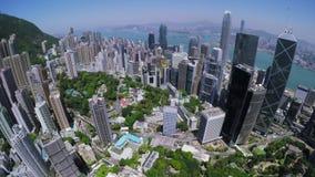 Hong Kong City Aerial Härlig klar blå himmel stock video
