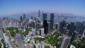 Hong Kong City Aerial Track Shot. Beautiful Clear Blue Sky. stock video