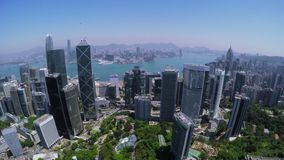 Hong Kong City Aerial Track Shot. Beautiful Clear Blue Sky.