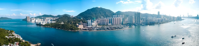 Hong Kong City in aerial view royalty free stock photography