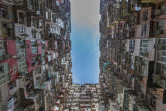 Hong Kong city apartment with blue sky Stock Images
