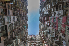 Hong Kong city apartment from bottom view Royalty Free Stock Image
