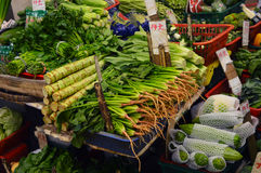 Hong Kong city: asian vegetable market marketplace. Street market in hong kong city - detail on various asian marketplace with vegetable and food Stock Images