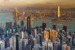 Hong Kong city business downtown aerial view over Victoria Bay Stock Image