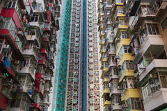 Hong Kong city crowded residences apartment. Close up Royalty Free Stock Image