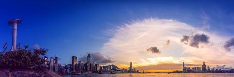 Hong Kong City dans la vue aérienne Photos stock