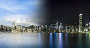 Hong Kong City Day et lumière Image stock