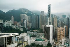 Hong Kong City en brouillard images libres de droits