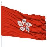 Hong Kong City Flag sur le mât de drapeau Photos stock