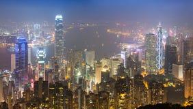 Hong Kong City In Mist di punta Fotografia Stock Libera da Diritti