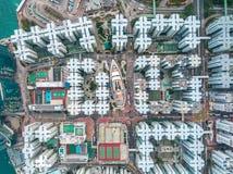 Hong Kong City na vista aérea no céu fotografia de stock royalty free