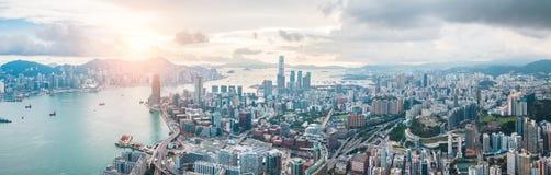 Hong Kong City na vista aérea no céu fotos de stock royalty free