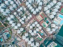 Hong Kong City na vista aérea no céu foto de stock
