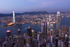 Hong Kong City at Night. The view of Hong Kong and Kowloon Island at night Stock Photos