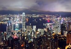 Hong Kong city at night Stock Image