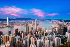 Hong Kong city in night Stock Image
