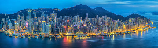 Hong Kong city. At night stock images