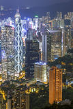 Hong Kong City at Night, Pearl of the Orient Stock Photos
