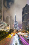 Hong Kong city by night. Photo of Hong Kong city at night with long exposure Stock Photos