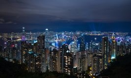 Hong Kong city at night. Seen from The Peak stock photo