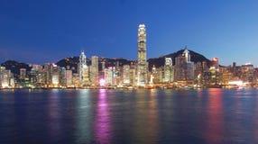 Hong Kong city at night time Stock Photos