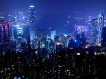 Hong Kong Cityscape at night time. Hong Kong city at night time, Sheung Wan, Central and Wan Chai with lots of neon lights in reential buildings and financial royalty free stock photos