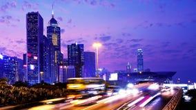 Hong Kong City Night Timelapse. Åtsittande skott. stock video