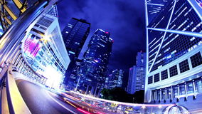 Hong Kong City Night Timelapse. Den åtsittande zoomen ut sköt. arkivfilmer