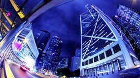 Hong Kong City Night Timelapse. Sned bollskott lager videofilmer