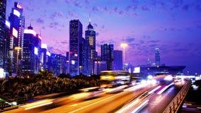 Hong Kong City Night Timelapse. Sned bollskott. lager videofilmer