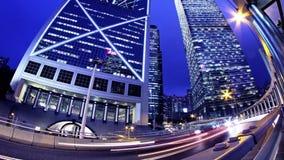 Hong Kong City Night Timelapse. Strak uit Geschoten Gezoem. stock footage