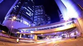 Hong Kong City Night Timelapse. Tätt zooma ut sköt. lager videofilmer